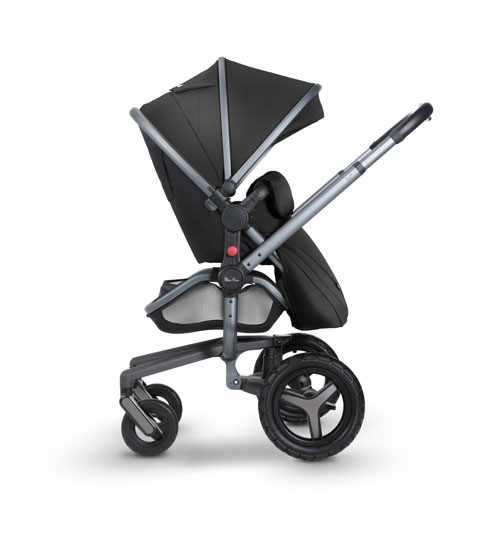 Surf 3 Side RF Pushchair 3 Black Fab Graphite Chassis Flipped