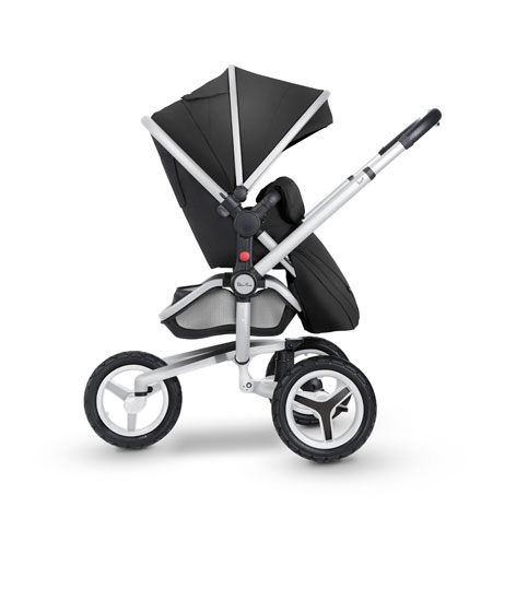 Surf 3 Side RF Pushchair 3wheel 3 Black Fab-Siver Chassis Flipped