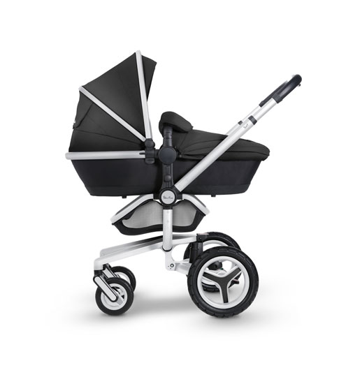 Surf 3 Side Pram Black Fab Silver Chassis Flipped